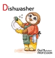 Alphabet professions Owl Letter D - Dishwasher vector image