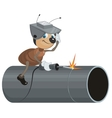 Ant Welder welds pipe vector image