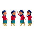arab muslim girl kid poses set high vector image vector image