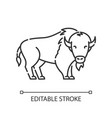 bison pixel perfect linear icon vector image vector image