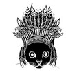 black silhouette head cat with indian hat vector image vector image