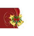 christmas wish with golden bells ribbon needles vector image