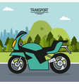 colorful poster of transport with motorcycle in vector image vector image