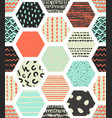 colorful seamless patterns with honeycombs vector image vector image