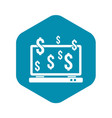 computer monitor and dollar signs icon vector image vector image