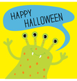 Cute green monster with speech text bubble vector image