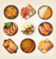 dinner dishes in different countries world vector image vector image