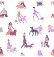 dog owners seamless pattern vector image vector image