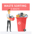e-waste recycling - modern cartoon people vector image
