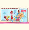 family shopping mania composition vector image vector image