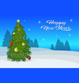 fir tree decorated colorful balls happy new year vector image
