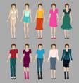 Flat fashion models vector image vector image