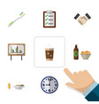 flat icon life set of partnership lunch watch vector image vector image