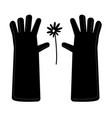 garden gloves in a simple style daisy flower vector image vector image