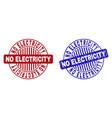 grunge no electricity textured round stamp seals vector image vector image