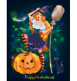 Halloween girl night vector image vector image
