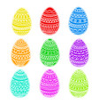 happy easter colorful eggs set hand drawing vector image vector image