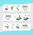 isometric infographic elements horizontal banners vector image vector image