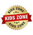 kids zone round isolated gold badge vector image vector image