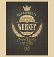 label for whiskey with ears barley and barrel vector image