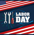 labor day flag tools fireworks festival symbol vector image vector image