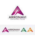 letter a - arrow navigation logo design vector image