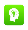 light bulb inside head icon digital green vector image