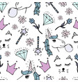lovely seamless pattern with hand-drawn unicorns vector image vector image