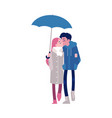 loving couple kissing under vector image vector image
