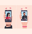 male and female hands holding smartphones with vector image