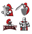 medieval knights heraldic mascots warriors vector image