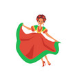 mexican dancer woman in red and green dress with vector image vector image