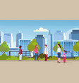 mix race people walking over modern hospital vector image