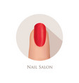 nail polished finger sign nail beauty salon icon vector image vector image