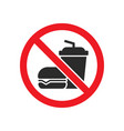 no eating and drinking sign vector image vector image
