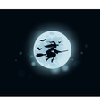 Old witch flying on broomstick at midnight vector image vector image