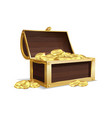 open wooden chest ancient gold shiny coins vector image vector image