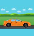 orange sports car vector image
