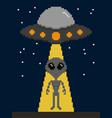pixel art alien invasion on earth vector image vector image