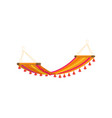 relax colorful red yellow textile hammock on beach vector image