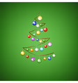 ribbon tree with bauble on green background vector image vector image