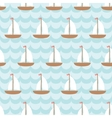 Seamless pattern with sailing ship in the sea vector image