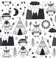 seamless pattern with tribal boy and owl vector image vector image