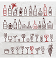 Set of alcohols bottles and wineglasses on grunge vector | Price: 1 Credit (USD $1)