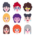 set of girls avatar vector image vector image