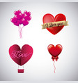 set of love hearts romantic passion image vector image