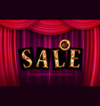 shining sale spring on red curtain vector image