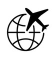 simple black graphics planes with earth global vector image