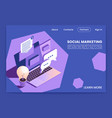 social marketing isometric webpage vector image