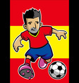 spain soccer player with flag background vector image